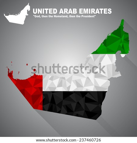 United Arab Emirates flag overlay on United Arab Emirates map with polygonal and long tail shadow style (EPS10 art vector) - stock vector