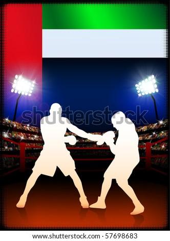 United Arab Emirates Flag with Boxer on Stadium Background Original Illustration - stock vector
