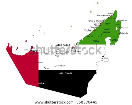 United arab emirates highly detailed political stock vector hd united arab emirates highly detailed political map with national flag isolated on white background gumiabroncs Gallery