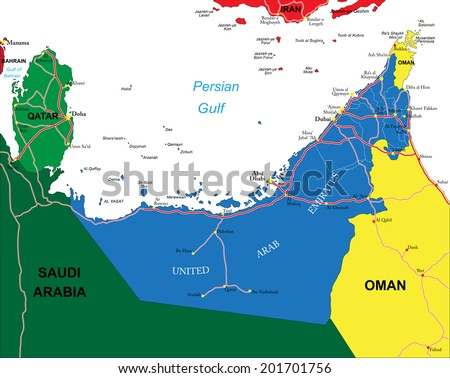 United Arab Emirates map - stock vector
