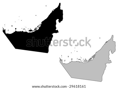 United Arab Emirates map. Black and white. Mercator projection. - stock vector