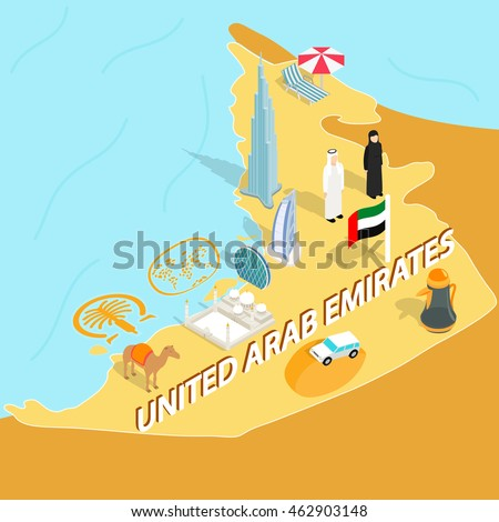 united arab emirates map in isometric 3d style symbols of uae set collection abu