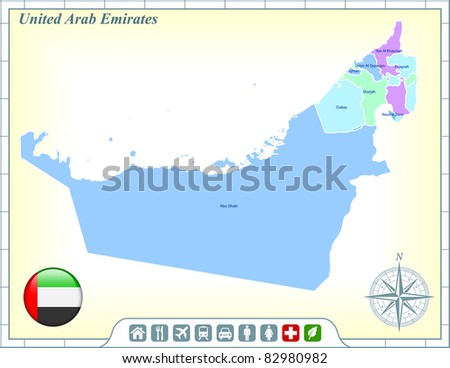 United Arab Emirates Map with Flag Buttons and Assistance & Activates Icons Original Illustration - stock vector