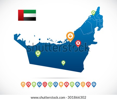 United Arab Emirates Map with Navigation Icons - stock vector