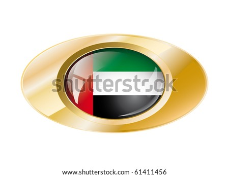 United arab emirates shiny button flag vector illustration. Isolated abstract object on metal background. - stock vector