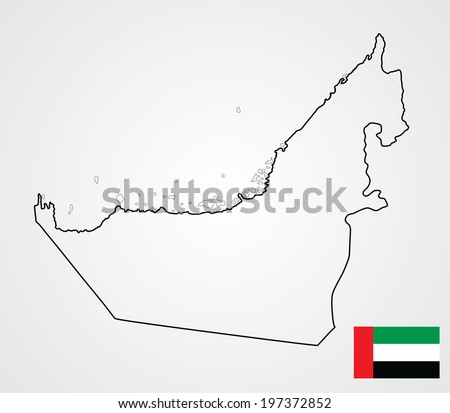 United Arab Emirates vector map isolated on white background. High detailed illustration. UAE flag vector near the map.  - stock vector