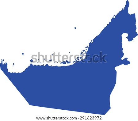 United Arab Emirates vector map isolated on white background. High detailed silhouette illustration. - stock vector