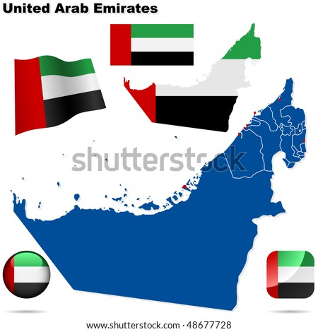 United Arab Emirates vector set. Detailed country shape with region borders, flags and icons isolated on white background. - stock vector