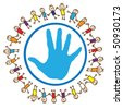 United children of the world around hand sign - stock vector