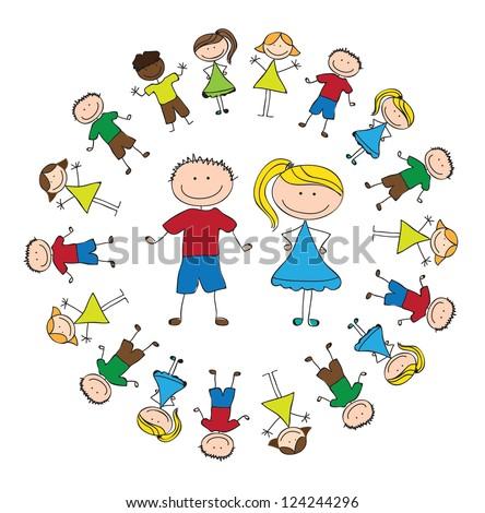 united children over white background vector illustration - stock vector
