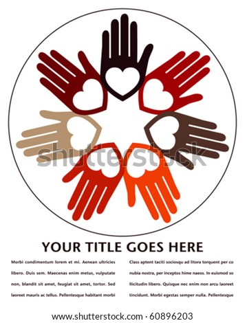 United hands and hearts design with copy space. - stock vector