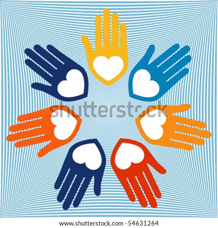United hands and hearts vector. - stock vector