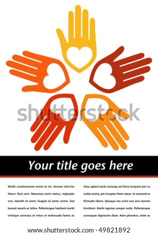 United hands and hearts with copy space vector. - stock vector