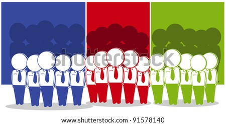 united in business team work though different colors - stock vector