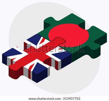 United Kingdom and Bangladesh Flags in puzzle  isolated on white background - stock vector
