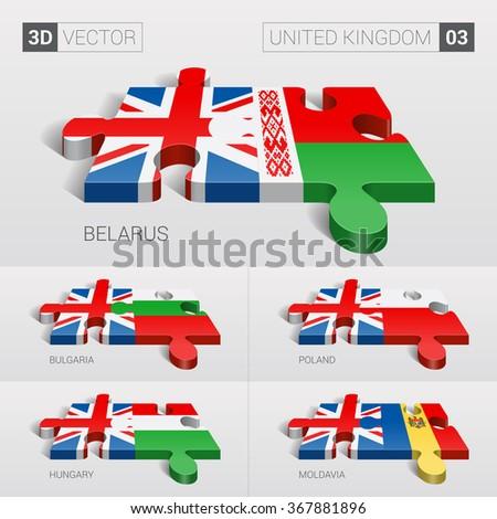 United Kingdom and Belarus, Bulgaria, Poland, Hungary, Moldavia Flag. 3d vector puzzle. Set 03. - stock vector