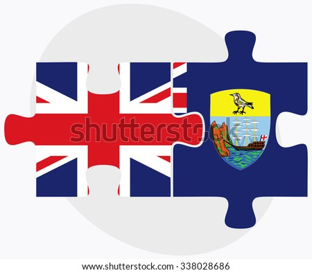United Kingdom and Saint Helena Flags in puzzle isolated on white background