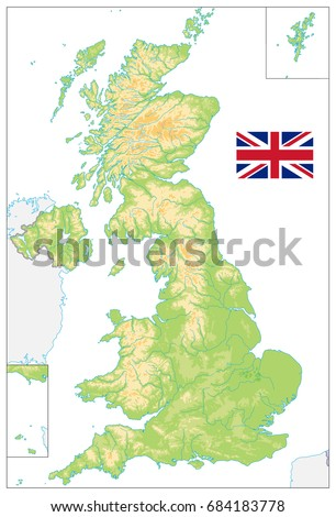 United kingdom blank physical map isolated stock vector 684183778 united kingdom blank physical map isolated on white vector illustration sciox Image collections