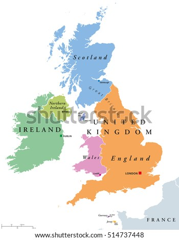 United kingdom countries ireland political map stock vector royalty united kingdom countries and ireland political map england scotland wales northern ireland gumiabroncs Image collections