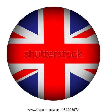 United Kingdom flag button on a white background. Vector illustration. - stock vector