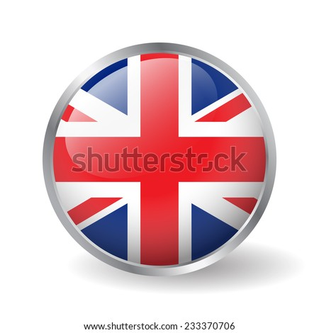 United Kingdom flag button vector - stock vector