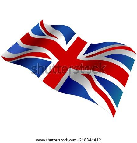United Kingdom flag 3d. Vector illustration. - stock vector