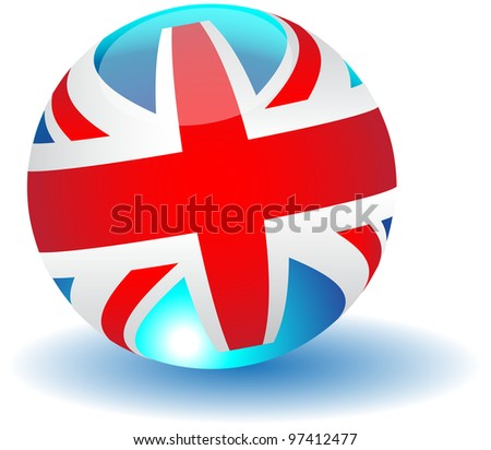 United Kingdom flag globe.Vector - stock vector