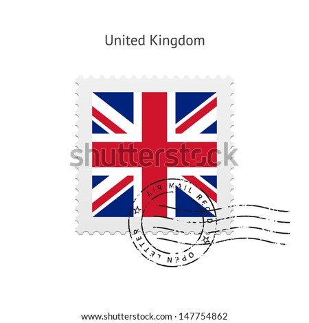 United Kingdom Flag Postage Stamp on white background. Vector illustration. - stock vector