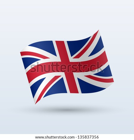 United Kingdom flag waving form on gray background. Vector illustration. - stock vector