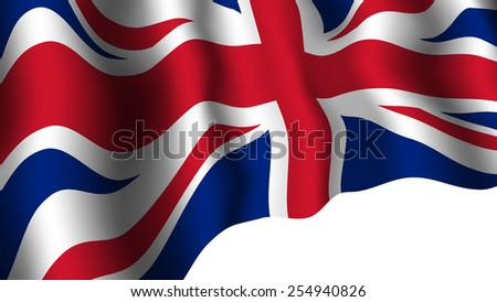 United Kingdom flag with shades waving isolated on white background. Great Britain national symbol. Vector illustration. - stock vector