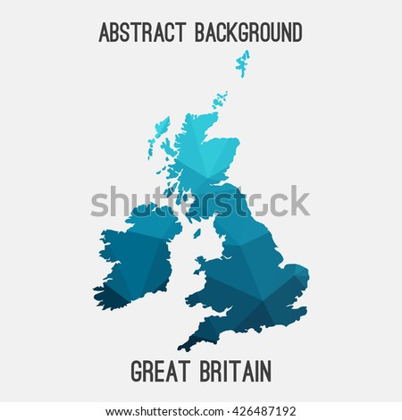 United Kingdom,Great Britain map in geometric polygonal style.Abstract tessellation,modern design background. Vector illustration EPS8 - stock vector