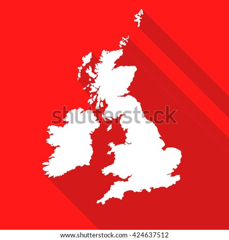 United Kingdom,Great Britain white map,border flat simple style with long shadow on red background - stock vector