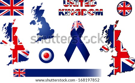 United Kingdom Icons. Set of vector graphic images and symbols representing the United Kingdom of Great Britain - stock vector
