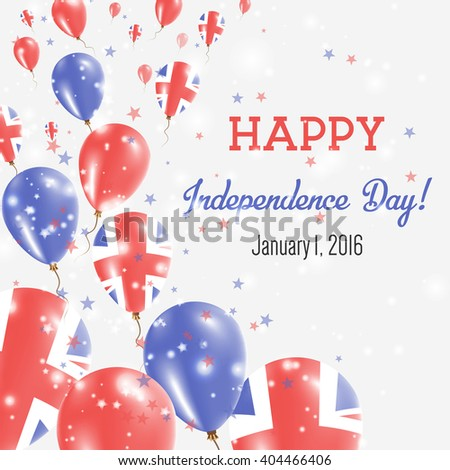 United Kingdom Independence Day Greeting Card. Flying Balloons in British National Colors. Happy Independence Day United Kingdom Vector Illustration.