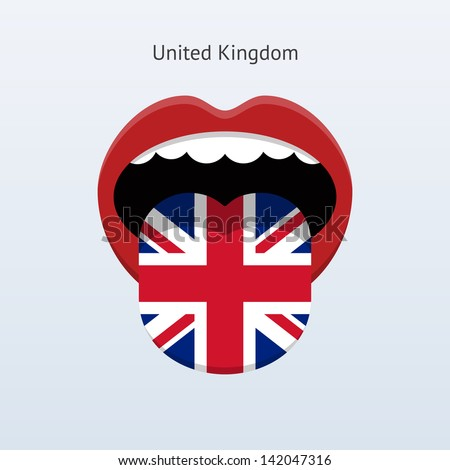 United Kingdom language. Abstract human mouth. Vector illustration. - stock vector