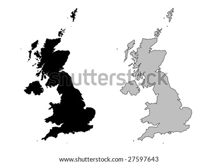 United Kingdom map. Black and white. Mercator projection. - stock vector