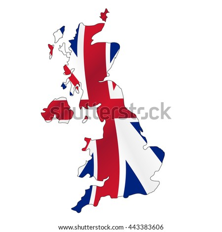united kingdom map filled with great Britain color flag eps10