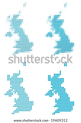 United Kingdom map mosaic set. Isolated on white background.