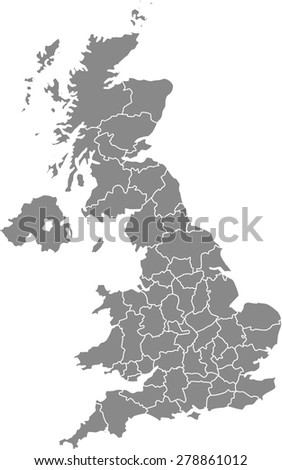 United Kingdom map outlines, vector map of UK with boundaries/ polygons or borders of counties or states or provinces in grey color background - stock vector
