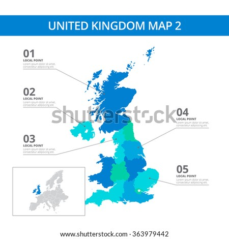 United Kingdom Map Template Stock Vector Shutterstock - Sweden map template