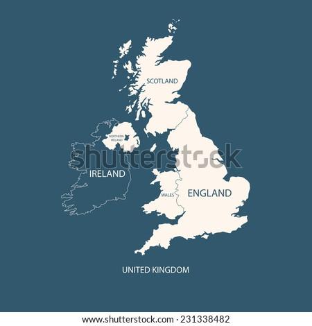 UNITED KINGDOM MAP, UK MAP  - stock vector