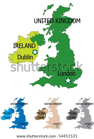 United kingdom map with all maps in separate layers for easy editing - stock vector