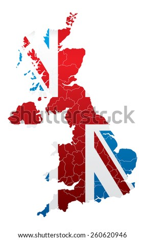 United Kingdom Map with Flag - stock vector