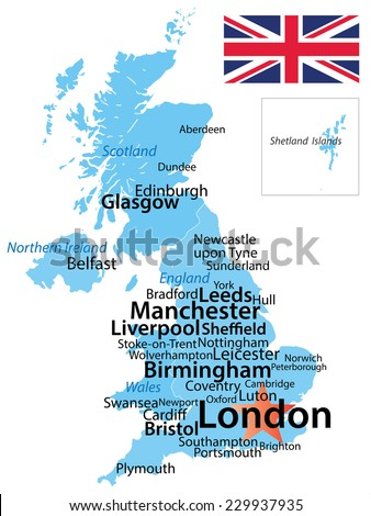 united kingdom map with largest cities carefully scaled text by city population