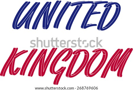 United Kingdom name in a 3D abstract background, three dimensional UK name colored with the colors of the flag, blue and red - stock vector