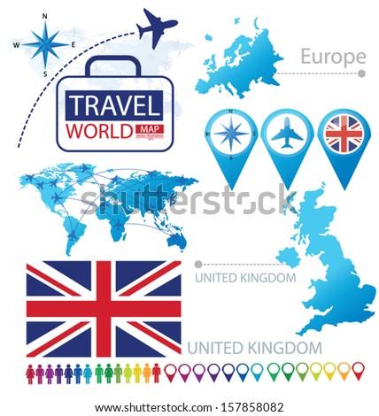 United Kingdom of Great Britain and Northern Ireland. flag. World Map. Travel vector Illustration. - stock vector