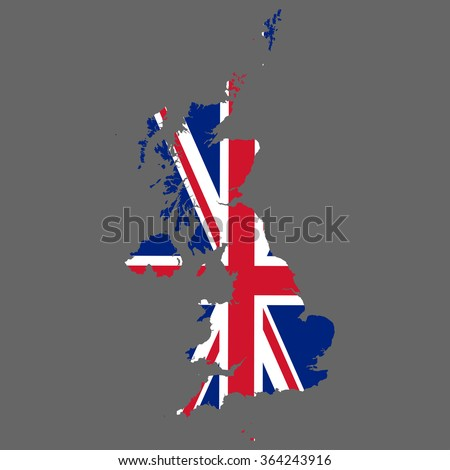 United Kingdom of Great Britain - map and flag