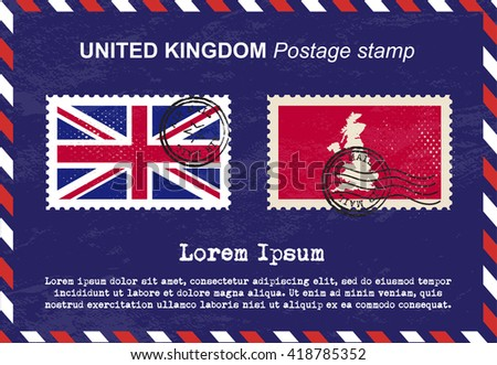 United Kingdom postage stamp, postage stamp, vintage stamp, air mail envelope. - stock vector