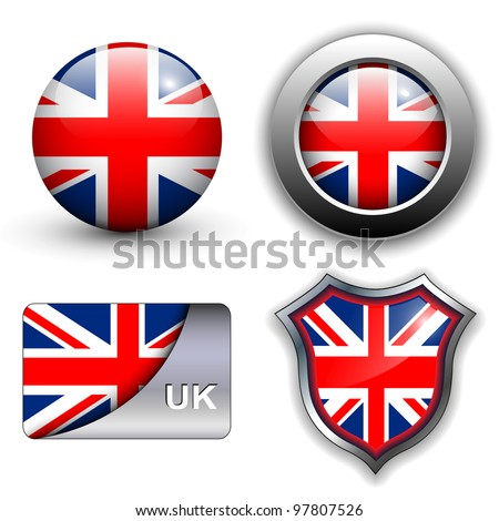 United Kingdom; UK flag icons theme. - stock vector