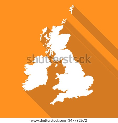 United Kingdom,UK,Great Britian white map,border flat simple style with long shadow on orange background - stock vector